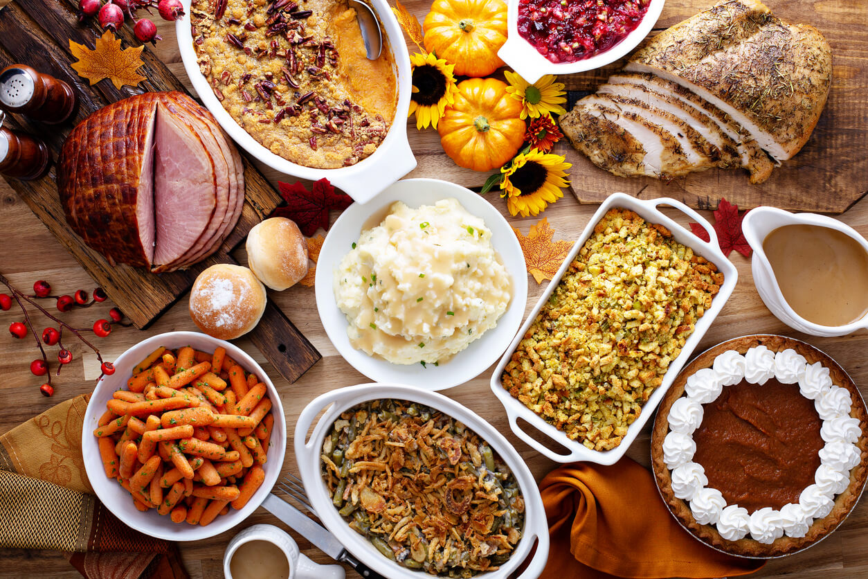 Full spread of holiday comfort foods