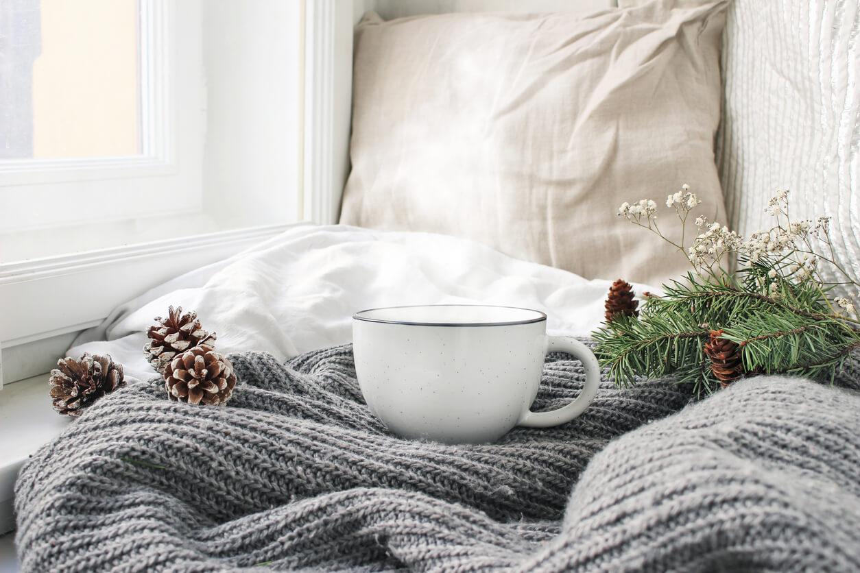 Cozy, warm nook with a warm drink